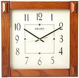 Seiko 13' Square Medium Brown Wood Wall Clock