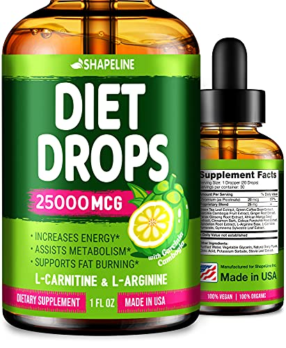 Weight Loss Drops - Appetite Suppressant for Women & Men - Made in The USA - Natural Metabolism Booster - Fast Weight Loss - Diet Drops with Garcinia Cambogia, L-Arginine & L-Glutamine 1 Fl oz