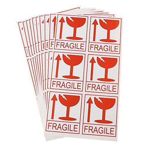 60 Stks Breekbaar Label Waarschuwingsstickers met Gebroken Glas Pijl Verzending Waarschuwingsstickers Tags voor Verzending Bewegende Doos Bagage Koffer Glazen Pakket