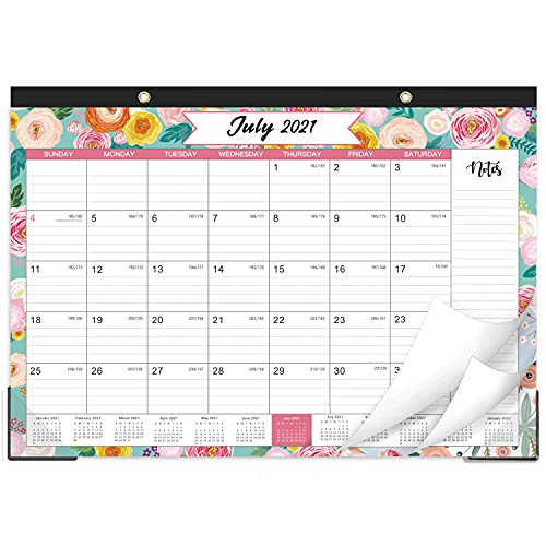 """2021-2022 Desk Calendar - Desk Calendar 2021-2022 with Notes Content and Julian Date, Jul 2021 - Dec 2022, 17""""x 12"""", Thick Paper with Floral Pattern"""