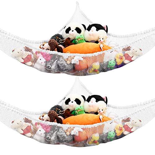 BESTonZON 2pcs Toy Hammock, Extra Large Corner Storage Net for Stuffed Animals, Large Toy Holder with 6 Hooks