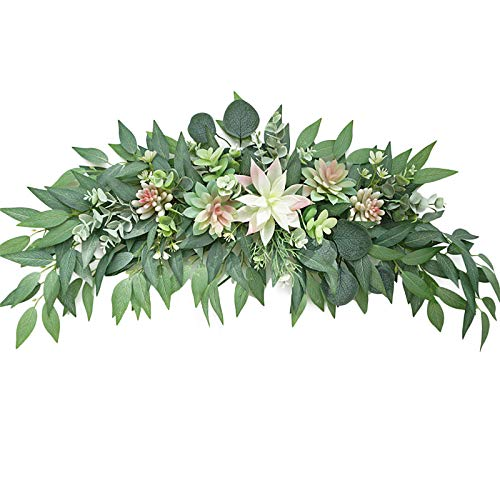 FXforer 28inch Artificial Eucalyptus Succulent Swag,Spring Floral Succulent Swag for Front Door,Eucalyptus Wreath Swag with Succulent Green Leaves for Festival Window Farmhouse Everyday Decor