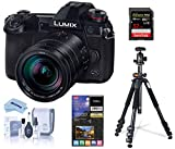 Panasonic Lumix G9 4K Mirrorless Digital Camera (Black), with 12-60mm Lens, Bundle with Vanguard Alta Pro 264AB 100 Aluminum Tripod with Ball Head, 32GB SD Card, LCD Protector, Cleaning Kit, Cloth