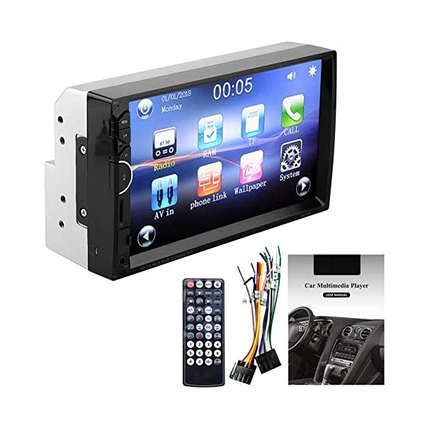 MP5 Player 7 Inch Double Din Touch Screen Car BT MP5 Player Stereo FM Radio Bluetooth Sound Modified Car Music Video Receiver Support BT Hands-free Rearview Camera Function 3