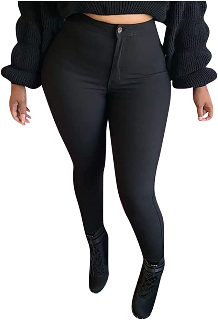 WUAI-Women Stretchy Jeggings High Waist Legging Plus Size Slim Fit Skinny Jeans Legging Pants with Pockets