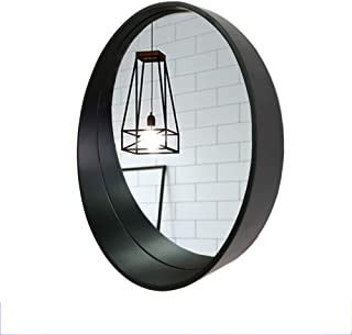 Mirror/Bathroom Solid Wood Wall with Storage Rack Vanity Crescent Shape HD (Color : Black, Size : 50cm)