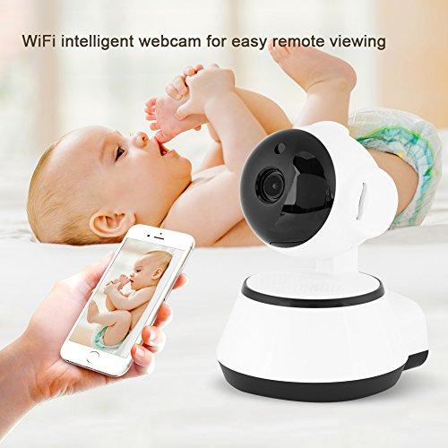 Babyphone, babyfoon met camera, video, babymonitor, intercomfunctie, digitale draadloze bewakingscamera met bewegingsdetectiealarm, ondersteunt rood licht nachtzicht en 24 uur opname, HD 720P