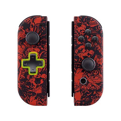 eXtremeRate Carcasa Joy-con Botones Completos D-Pad para Nintendo Switch Funda de Agarre Reemplazable Tacto Suave Shell para Nintendo Switch No Incluye la Carcasa de la Consola (Demonios y Monstruos)