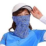 息苦しくないUVフェイスカバーC型(UVカットフェイスマスク) ブルー(ペイズリー柄) ホワイトビューティー