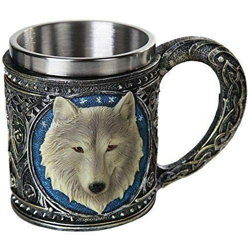Celtic Direwolf Ghost White Wolf Mug 16oz Resin Wolf Totem Spirit Cup - Home Decor