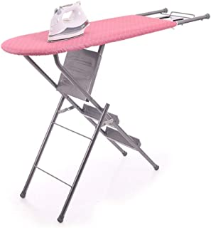 Teerwere Ironing Board Household Wide Ironing Board and Shoulder Wing Folding Function Folding Ladder Ironing Board Pink Ironing Board Ironing Table (Color : Pink, Size : 1253485cm)