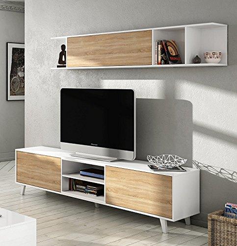 Abitti Mueble de salón Completo Estilo nórdico, módulo TV con estantería Color...