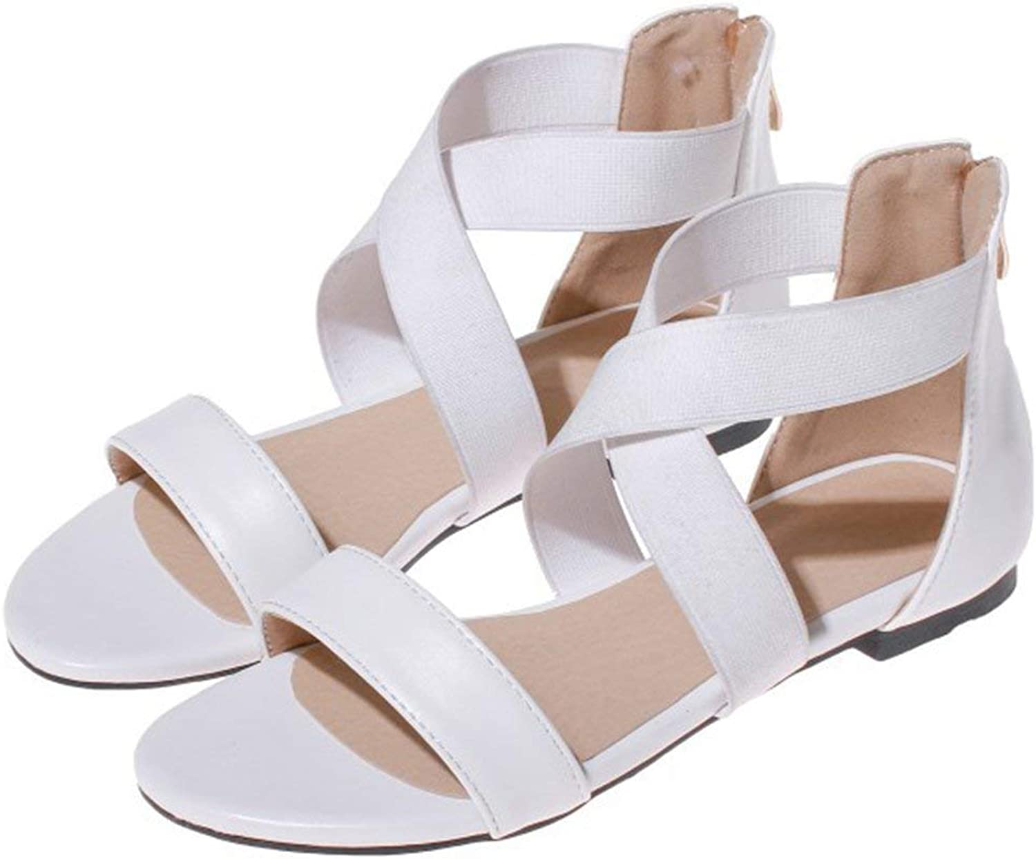 Gedigits Women's Comfort Open Toe Cross Strap Back Zipper Flat Sandals White 8.5 M US