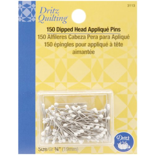 Dritz Quilting en métal Blanc trempé Tête Applique Pins-Size 12 150/Pkg