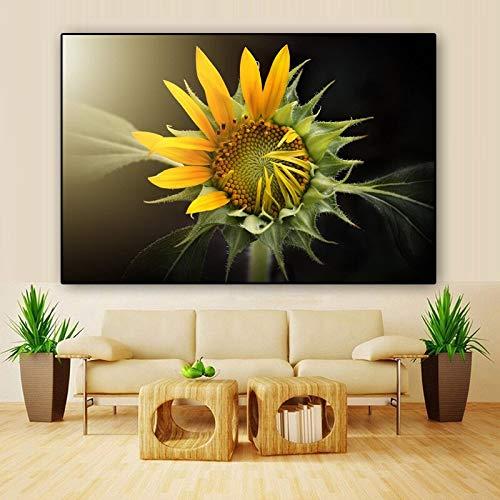 sanzangtang Sonnenblume Blumendruck Leinwand Malerei Wandkunst Poster Natur Wandbild für Wohnzimmer Home Dekoration rahmenlose Malerei 70cmX105cm