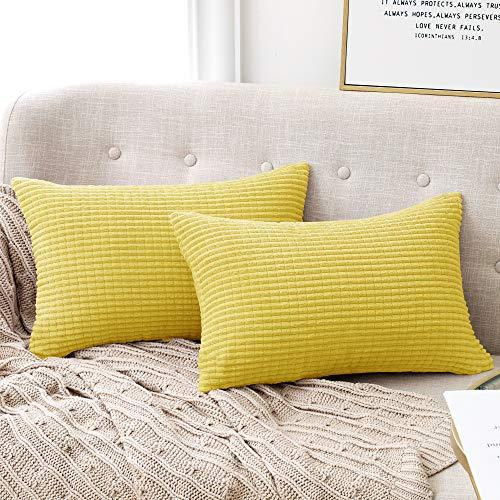 Deconovo Funda para cojin Prodector del Mueble Decorativa Cuadrada 2 Piezas 30x50cm Amarillo