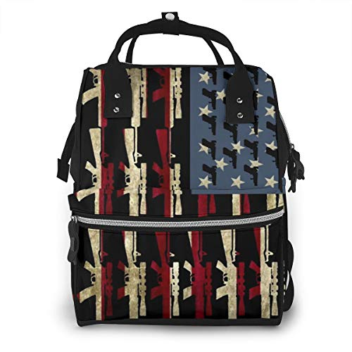 American Gun Flag Fashion Printing Baby Diaper Bag Backpack,Multi-Function Waterproof Large Capacity Travel Nappy Bags For Mom