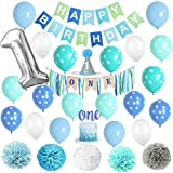 VIDAL CRAFTS 1st Birthday Boy Decorations, Happy Bday Bunting, High Chair Burlap Banner, Tissue Pom Poms, Balloons, Cake Topper, Party Hat, First Birthday Supplies