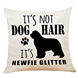 M-Qizi It's Not Dog Hair It's NewfieGlitter Throw Pillow Case, 18 x 18 Inch,FunnyDog Lover Gifts, NewfieDog Lover Gifts, Funny Dog Decor, Linen Cushion Cover for Sofa Couch Bed Decor
