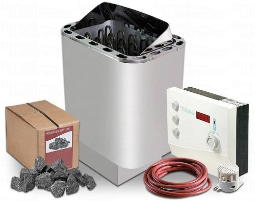 Saunaofen Nordex 9 kW Saunasteuerung time4wellness K2 mit Saunasteinen für die finnische Sauna
