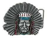 Native American Indian Chief Color Belt Buckle