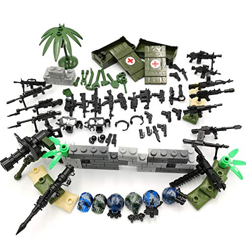 ZHX Soldiers Weapons Pack Guns and Accessories for Minifigures Building Blocks Military Toys Compatible with Major Brands