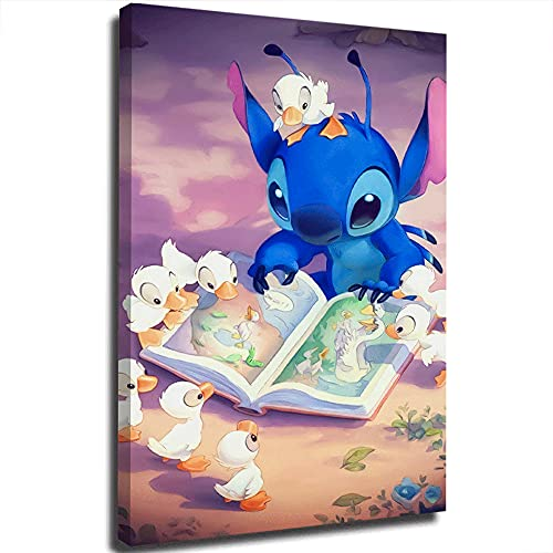 Lilo and Stitch Simple and Stylish Poster Stitch and the Ugly Duckling Female Bathroom Bedroom Dressing Room Wall Home Decor Frameless 20x30 inch