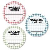 3er Set Etiketten Marmelade (72 Stk.- 4cm klein) - Homemade Aufkleber - Selbstklebend, ablösbare Sticker - Klebeetiketten zum Beschriften - Einmachetiketten in Karo Optik - Rund