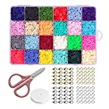 Simorc Kit de creación de joyas DIY Cuentas arcilla polimérica redondas planas dispersas sueltas para manualidades accesorios de joyería juego de fabricación de accesorios de joyería (24colores)