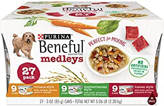 Purina Beneful Wet Dog Food Variety Pack, Medleys Tuscan, Romana & Mediterranean Style - (2 Packs of 27) 3 oz. Cans