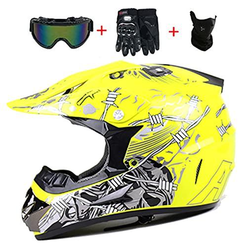 Casco integral de motocross,Cascos de protección para motocicletas todoterreno Quad Mountain Bike,Casco de moto para adultos Downhill Dirt Bike MX,Certificación DOT(Guantes/Gafas/Máscara)