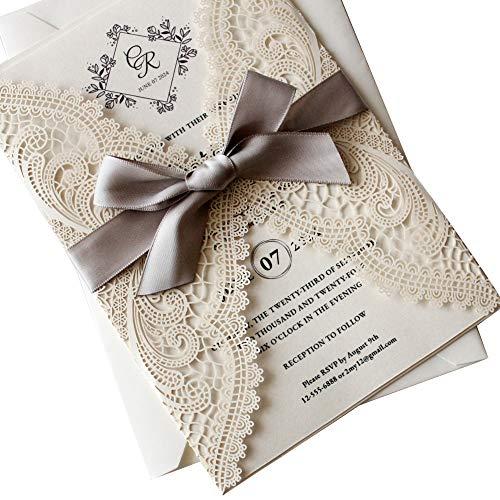 Picky Bride 25PCS Wedding Invitations with Envelopes 5 x 7 inch Lasercut, Lace Ivory Wedding Invitations Kit for Wedding Party, Bridal Shower, Anniversary