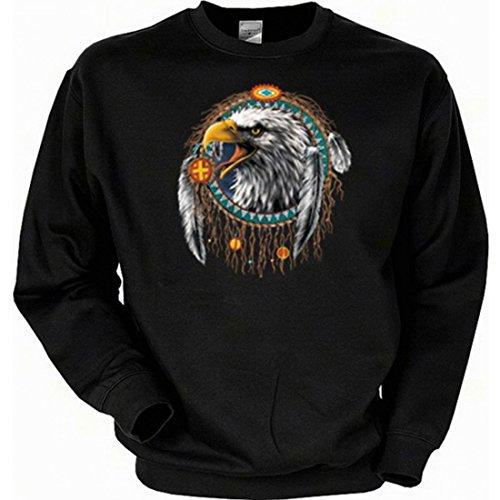 Sweatshirt mit Motiv - Adlerkopf und Indianerschmuck - USA Sweater Indianer, Größe:XL