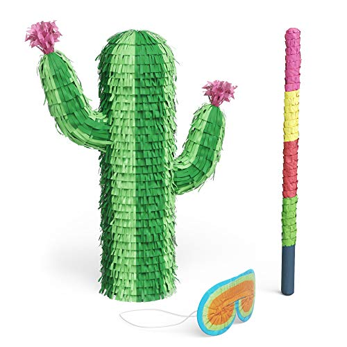 Cactus Piñata Bundle with a Blindfold and Bat ― The REAL Large Size Piñata that Holds Up to 3 lb of Candy For Birthday Parties, Kids Carnival and Related Events ― 18.5 x 15 x 4.7 Inches Pinata