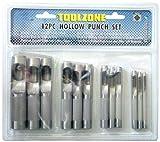 Toolzone PN1043–19mm Fustelle per fori circolari, per pelle/gomma/cartone/guarnizioni/plastica/carta–colore nero (12 pezzi)