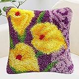 YUHT Kits de Gancho de Cierre de Bricolaje Funda de Almohada de Tiro Patrón de Flores Impreso Crochet Costura Cojín de Hilo Manualidades de Bordado Kits de Punto de Cruz para Adultos Niños, D, 40