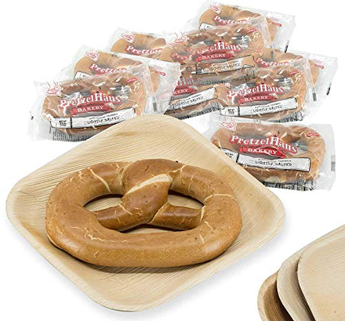 Pack of 10 Individually Wrapped PretzelHaus Soft German Style Pretzels, 6 oz, Lightly Salted Never Frozen Snacks w/Eco-Friendly Plates - Heat and Serve Super Food