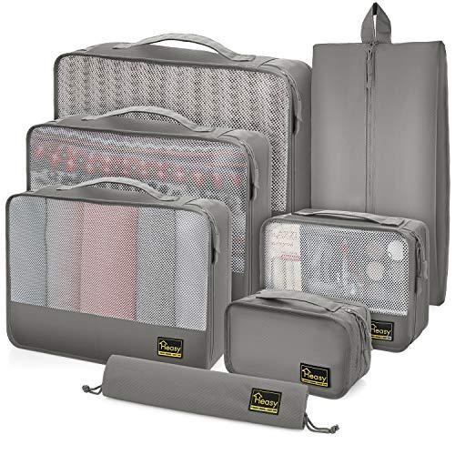 Heasy Reise Kleidertaschen Set, Packing Cubes 7-teilig Koffer-Organizer-Set, Aufbewahrungstasche für Kleidung, Schuhe, Unterwäsche, Handtücher, Kosmetik und Elektronikzubehör (Grau)