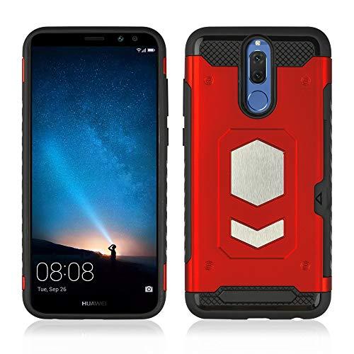 Compatible con Huawei Mate 10 Lite, funda ultradelgada, PC rígida, carcasa de silicona TPU suave, con soporte magnético para coche, antiarañazos, ranura para tarjetas rojo Talla única