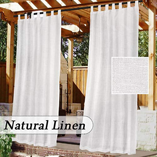 Outdoor Linen Sheer Curtains for Patio Waterproof - Indoor/Outdoor Divider Privacy Added Light Filtering Porch Decor with Detachable Self-Stick Tab Top for Gazebo/Cabana, White, 1 Piece, W52 x L84