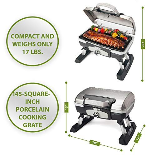Cuisinart CGG-180TS Petit Gourmet Portable Tabletop Gas Grill, Stainless Steel