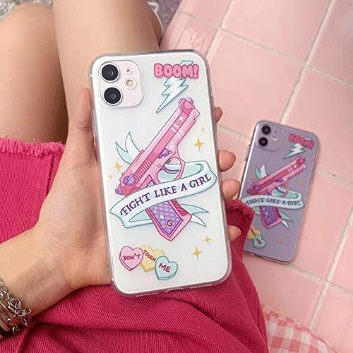 HNZZ Tmrtcgy Hot Dibujos Animados Rosa niña Creatividad Soft Silicone Funda telefónica para Apple iPhone 7 8 x XS XR MAX 1110 12 Pro Plus Transparente (Color : Olny Phone Case, Size : iPhone X XS)