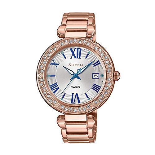 Casio Reloj Analógico para Mujer de Cuarzo con Correa en Acero Inoxidable SHE-4057PG-7AUER