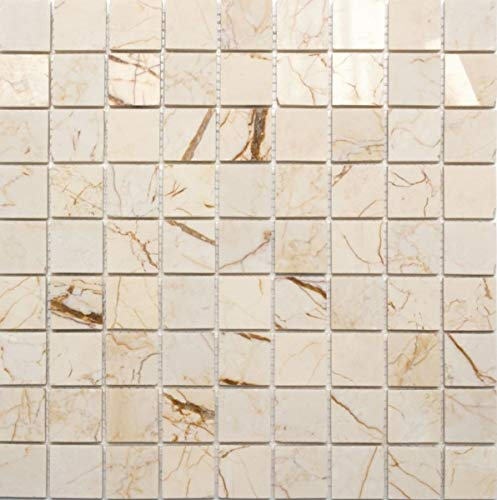 MOS42-32-2807_f - Azulejos de mosaico (mármol, piedra natural, acabado pulido), color dorado y crema