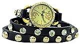 Damen-Uhr-Armbanduhr-Wickel-Armband-Uhr-Strass und Nieten SCHWARZ U65-4
