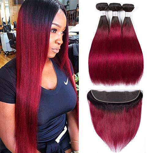 Human Hair Bundles With Lace Frontal - ORANGE STAR Ombre Burgundy Brazilian Hair Bundles With 13x4 Frontal Closure 3 bundles Remy Hair and Frontals (10\