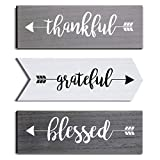 Jetec 3 Pieces Hanging Wall Signs Thankful Grateful Blessed Wooden Signs Rustic Wall Art Decor Welcome Plaque Sign for Farmhouse Outdoor Decor (Gray, White, Dark Gray)