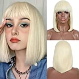 Kalyss Short Platinum Blonde Color Straight Bob Wig for Black Women Heat Resistant Yaki Synthetic Hair Women's Wig With Hair Bangs