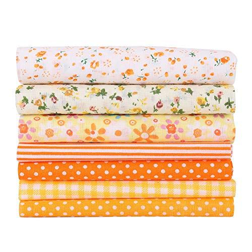Haokaini DIY棉布 DIYミシンクラフト布 7ピース/セット 100%棉 生地 花柄 裁縫DIY手作り 縫う手作り手芸用 ウォレット,クッションカバー用,クラフトクロス縫製 (オレンジSサイズ)