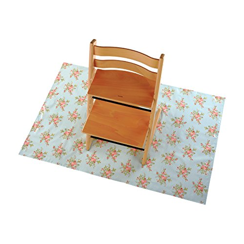 Messy Me Splash Mat voor onder hoge stoel - spenen Splash Mat, volledig veeg schoon stof, babyvoeding, rommelig spelen activiteiten, Deense Oliedoek. rommelig spelen vloer mat 90 x 120cms Pastel Roses